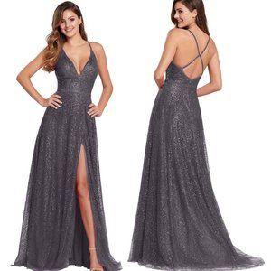 Ellie Wilde EW119001 Glitter V-Neck Prom Dress